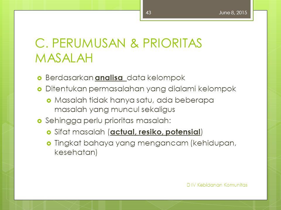 C. PERUMUSAN & PRIORITAS MASALAH