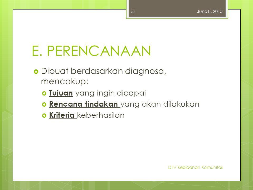 E. PERENCANAAN Dibuat berdasarkan diagnosa, mencakup: