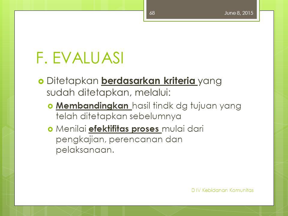 April 16, 2017 F. EVALUASI. Ditetapkan berdasarkan kriteria yang sudah ditetapkan, melalui: