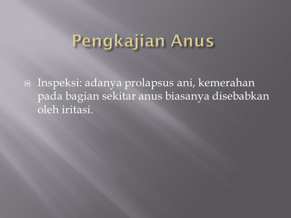 Pengkajian Anus Inspeksi: adanya prolapsus ani, kemerahan pada bagian sekitar anus biasanya disebabkan oleh iritasi.