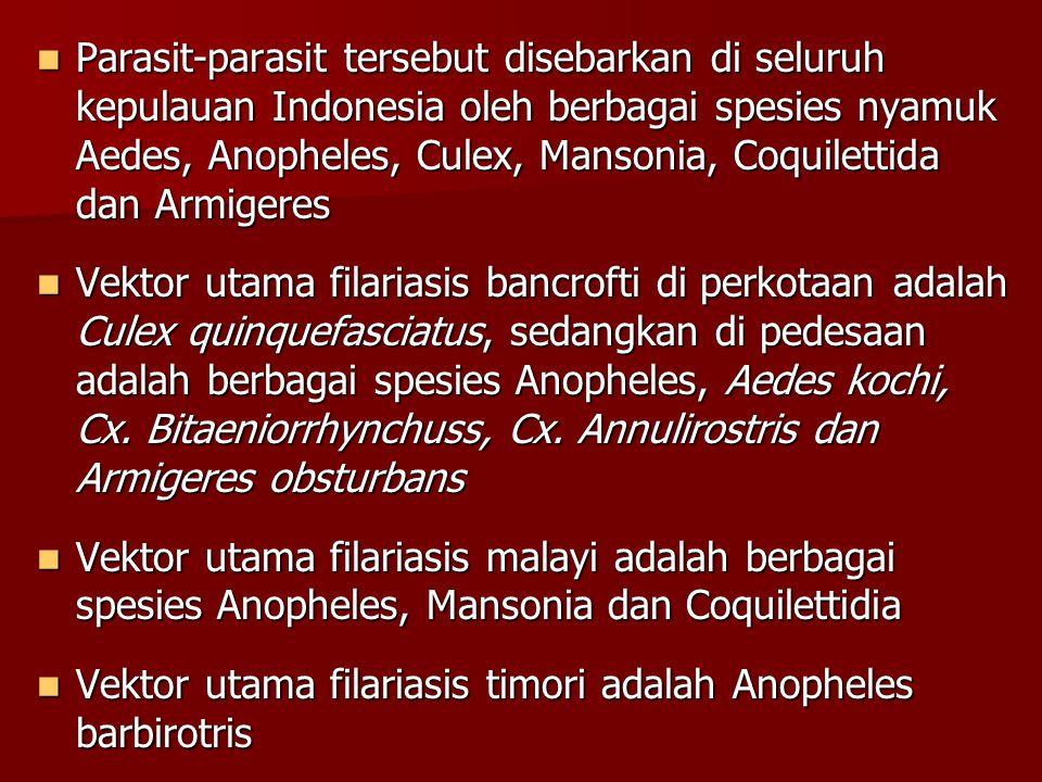Parasit-parasit tersebut disebarkan di seluruh kepulauan Indonesia oleh berbagai spesies nyamuk Aedes, Anopheles, Culex, Mansonia, Coquilettida dan Armigeres