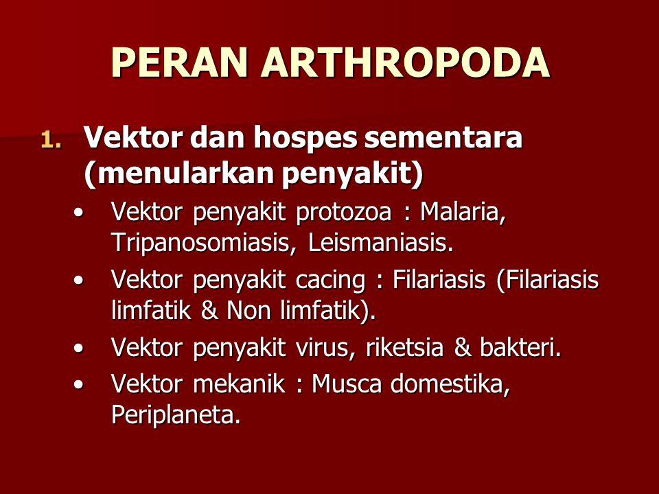 PERAN ARTHROPODA Vektor dan hospes sementara (menularkan penyakit)