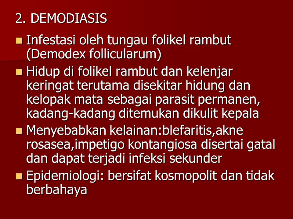 2. DEMODIASIS Infestasi oleh tungau folikel rambut (Demodex follicularum)