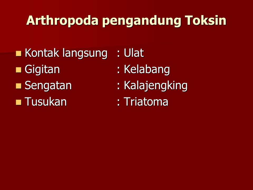 Arthropoda pengandung Toksin