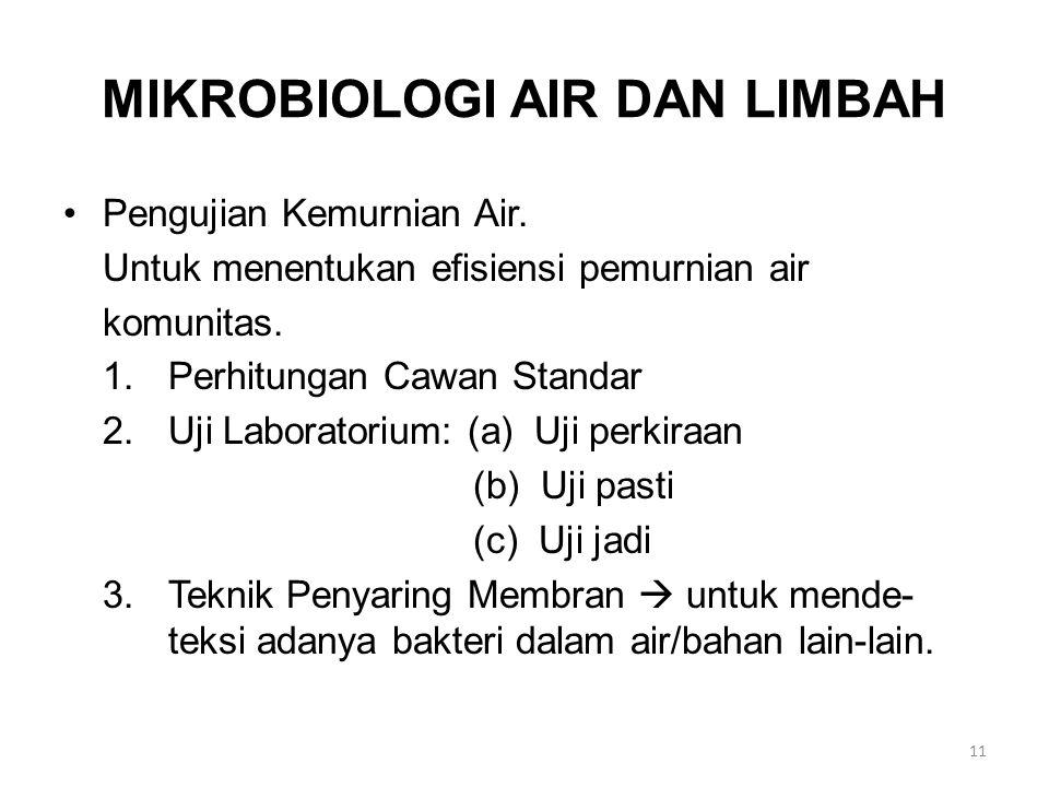 MIKROBIOLOGI AIR DAN LIMBAH
