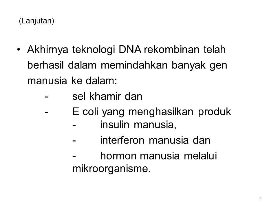 Akhirnya teknologi DNA rekombinan telah