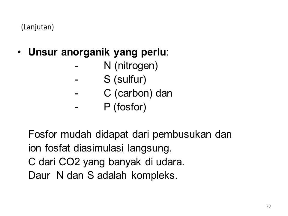 Unsur anorganik yang perlu: - N (nitrogen) - S (sulfur)