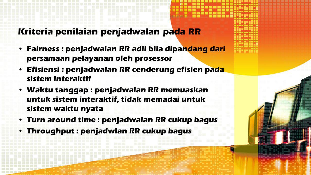 Kriteria penilaian penjadwalan pada RR