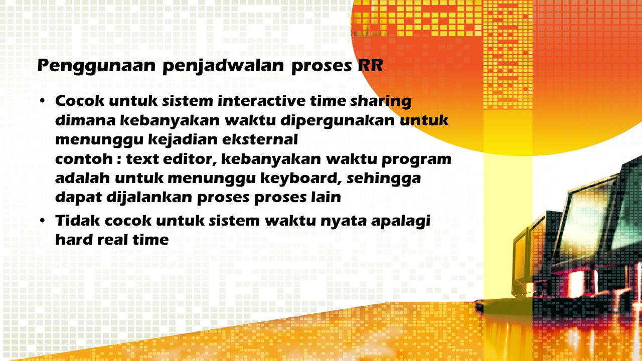 Penggunaan penjadwalan proses RR