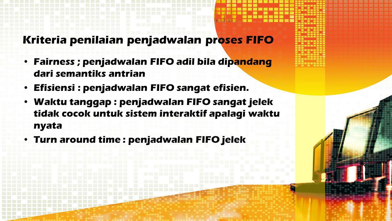 Kriteria penilaian penjadwalan proses FIFO