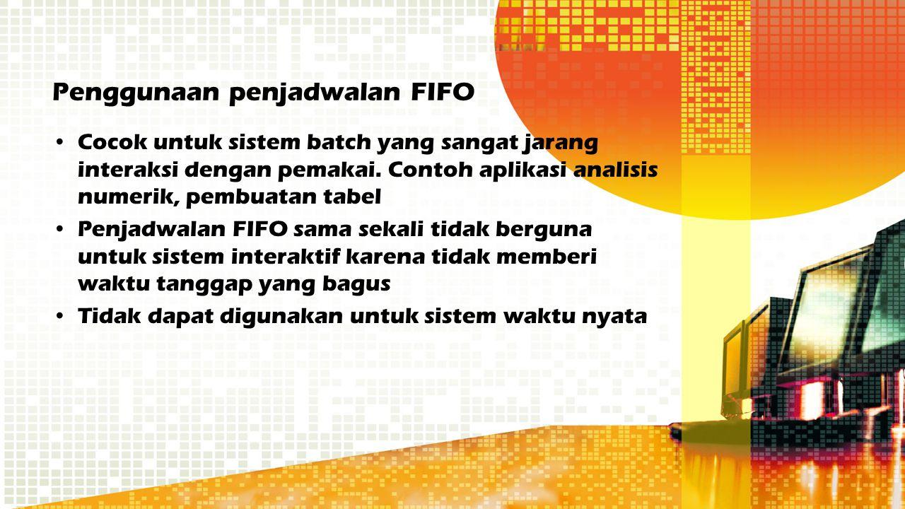 Penggunaan penjadwalan FIFO