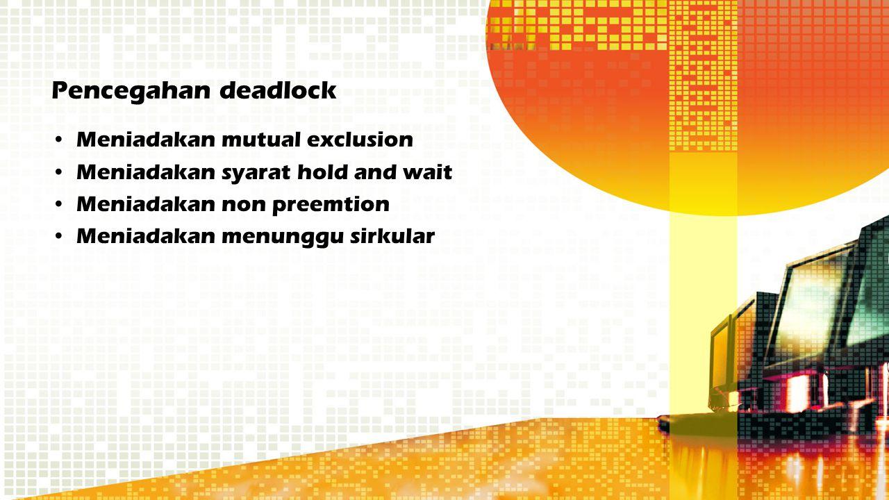 Pencegahan deadlock Meniadakan mutual exclusion