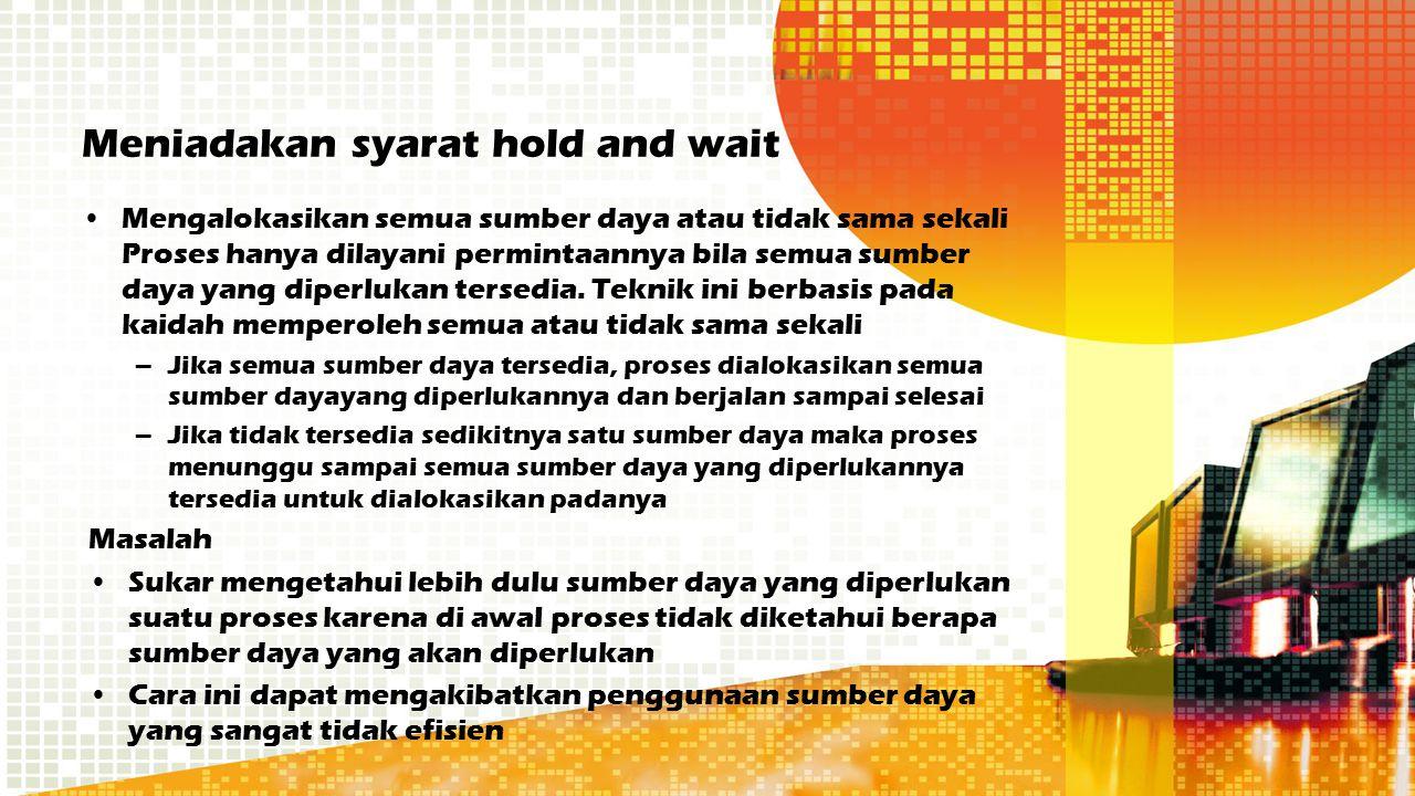 Meniadakan syarat hold and wait
