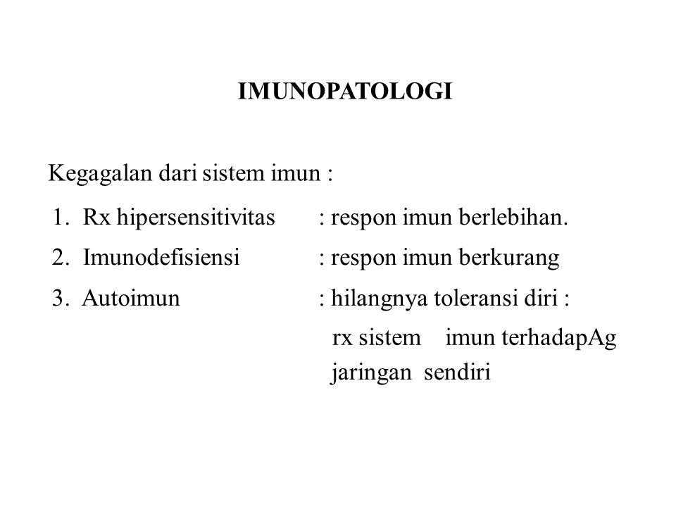 IMUNOPATOLOGI Kegagalan dari sistem imun : 1. Rx hipersensitivitas. 2. Imunodefisiensi. 3. Autoimun.