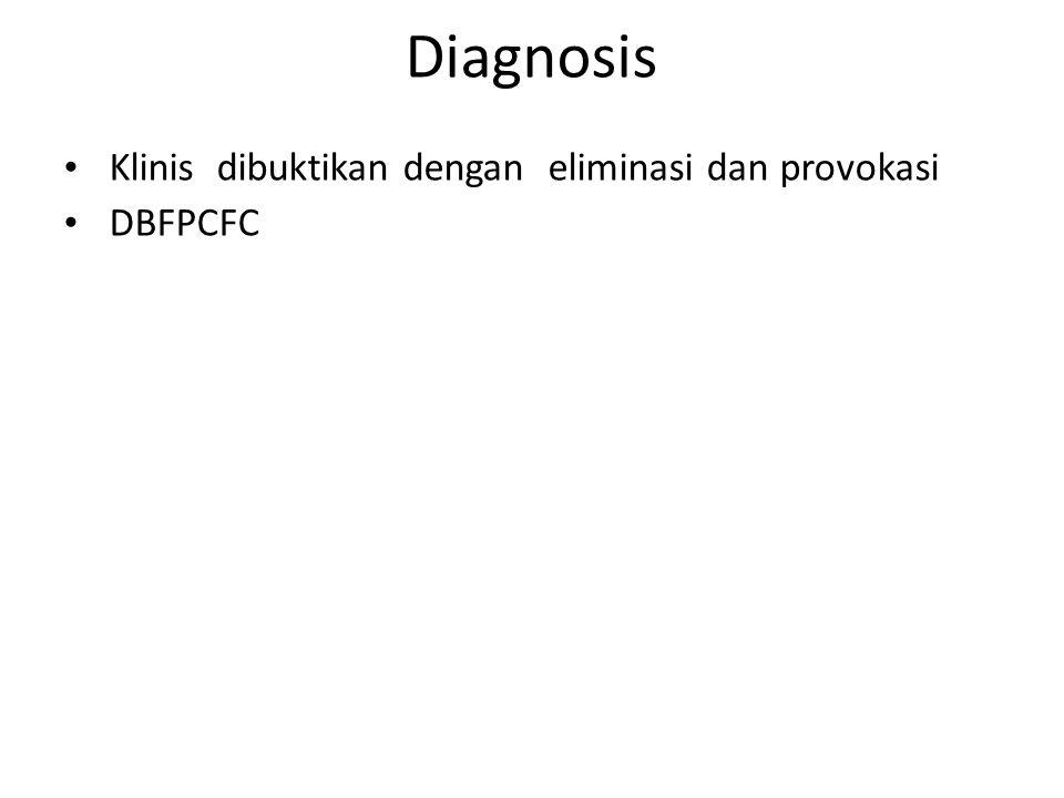Diagnosis • Klinis dibuktikan dengan eliminasi dan provokasi • DBFPCFC