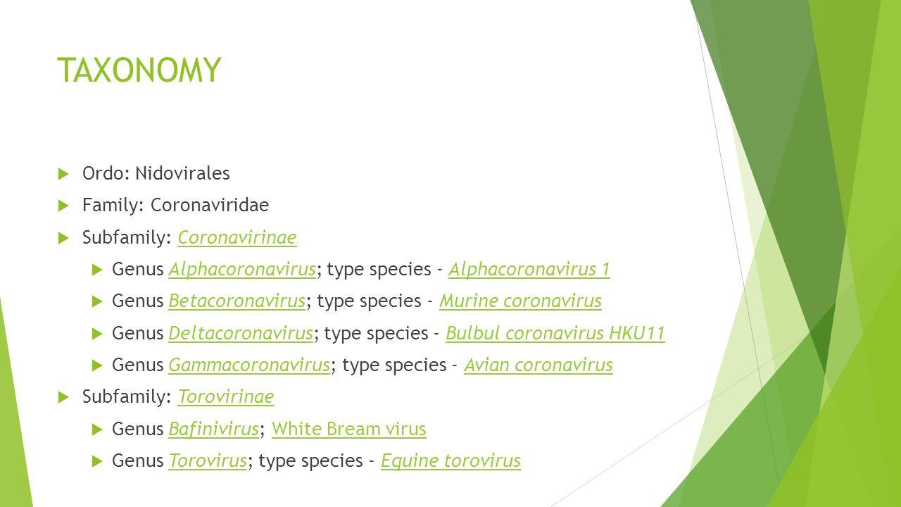 TAXONOMY Ordo: Nidovirales Family: Coronaviridae