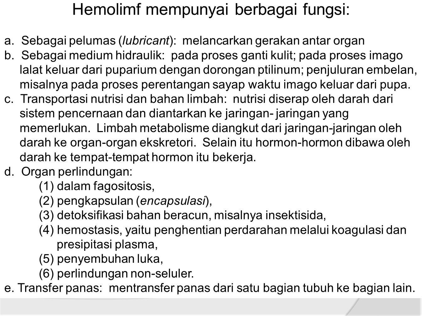 Hemolimf mempunyai berbagai fungsi: