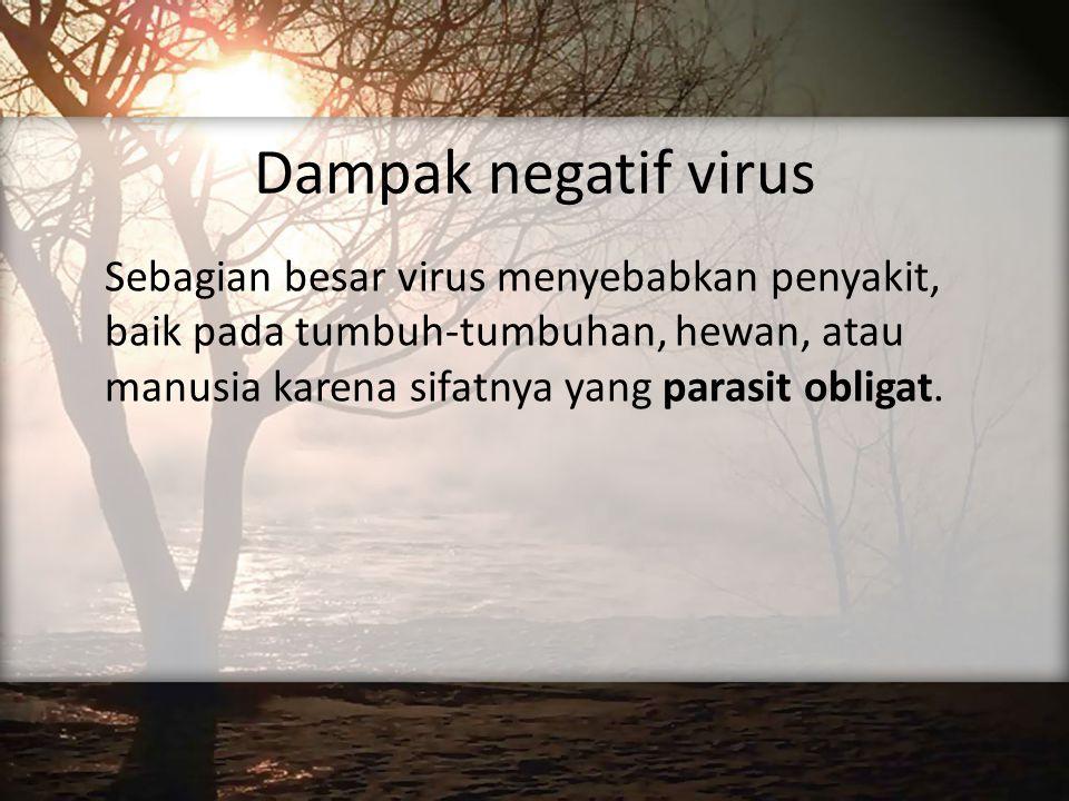 Dampak negatif virus Sebagian besar virus menyebabkan penyakit, baik pada tumbuh-tumbuhan, hewan, atau manusia karena sifatnya yang parasit obligat.