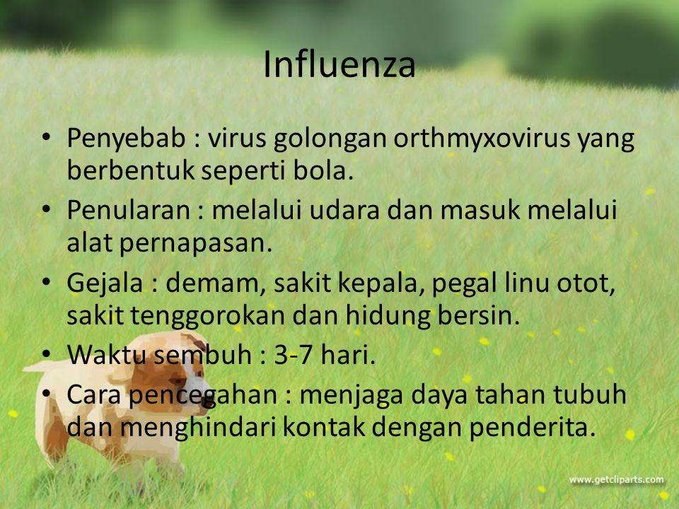 Influenza Penyebab : virus golongan orthmyxovirus yang berbentuk seperti bola. Penularan : melalui udara dan masuk melalui alat pernapasan.