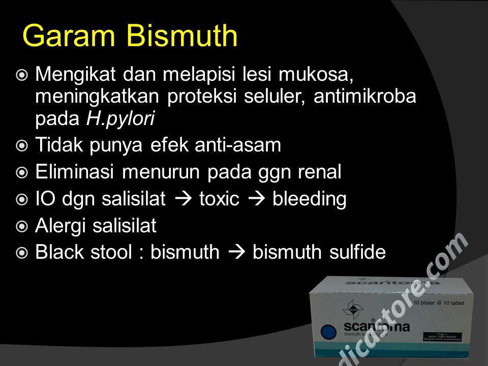 Garam Bismuth Mengikat dan melapisi lesi mukosa, meningkatkan proteksi seluler, antimikroba pada H.pylori.