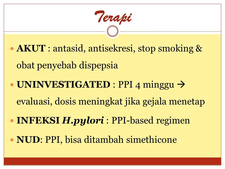 Terapi AKUT : antasid, antisekresi, stop smoking & obat penyebab dispepsia.