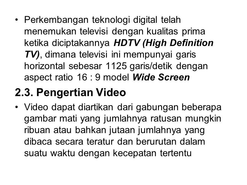 Perkembangan teknologi digital telah menemukan televisi dengan kualitas prima ketika diciptakannya HDTV (High Definition TV), dimana televisi ini mempunyai garis horizontal sebesar 1125 garis/detik dengan aspect ratio 16 : 9 model Wide Screen