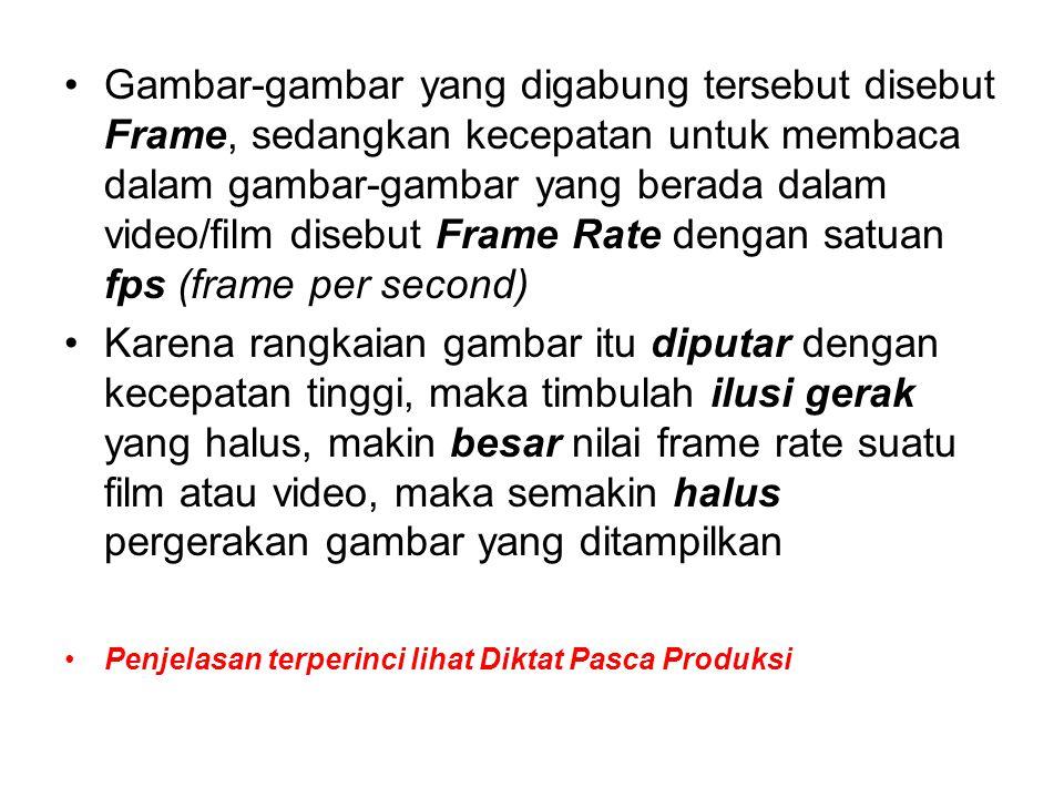 Gambar-gambar yang digabung tersebut disebut Frame, sedangkan kecepatan untuk membaca dalam gambar-gambar yang berada dalam video/film disebut Frame Rate dengan satuan fps (frame per second)