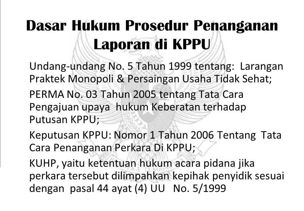 Dasar Hukum Prosedur Penanganan Laporan di KPPU
