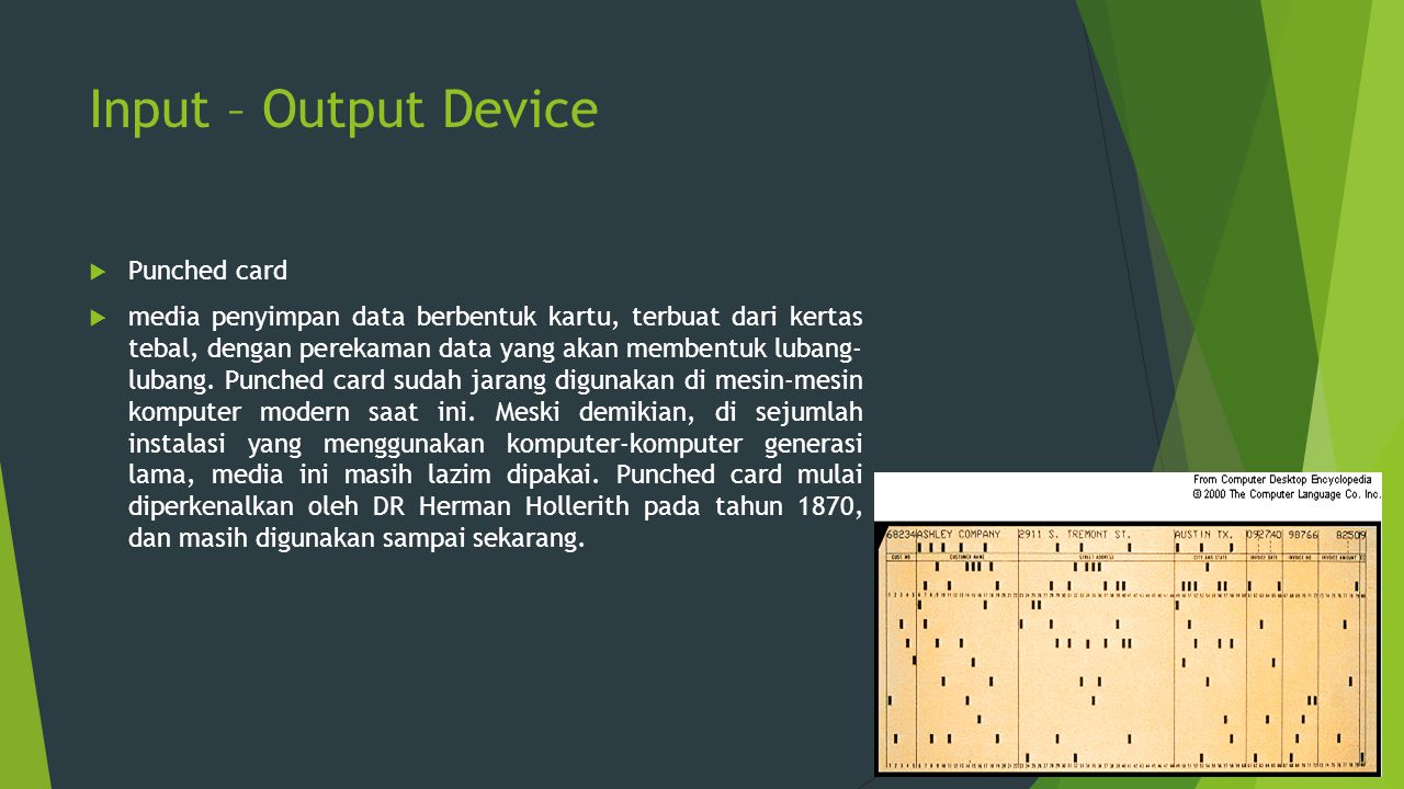 Input – Output Device Punched card