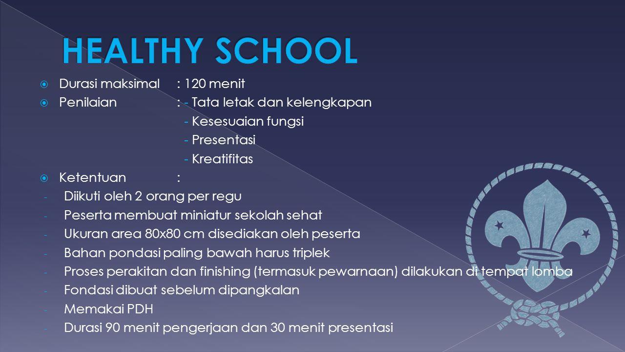 HEALTHY SCHOOL Durasi maksimal : 120 menit