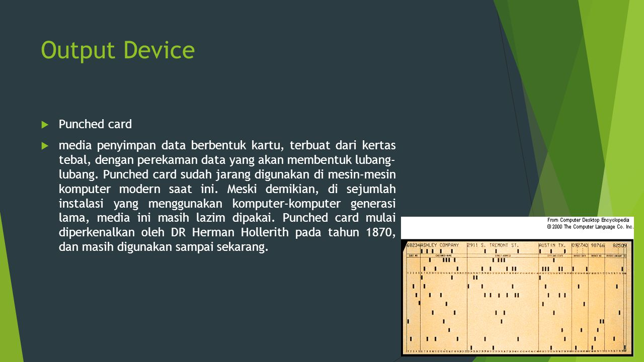 Output Device Punched card