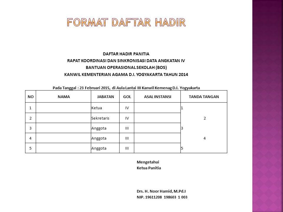 FORMAT DAFTAR HADIR DAFTAR HADIR PANITIA