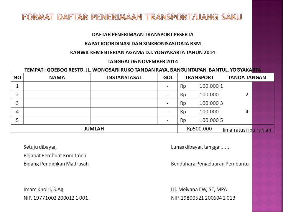 FORMAT DAFTAR PENERIMAAN TRANSPORT/UANG SAKU