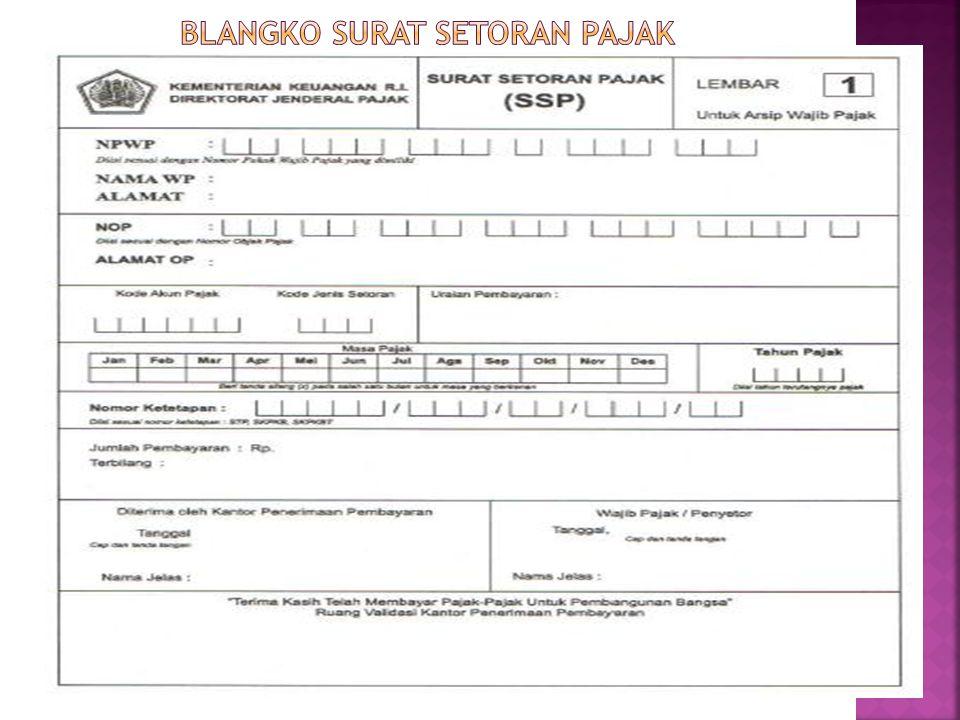 BLANGKO SURAT SETORAN PAJAK