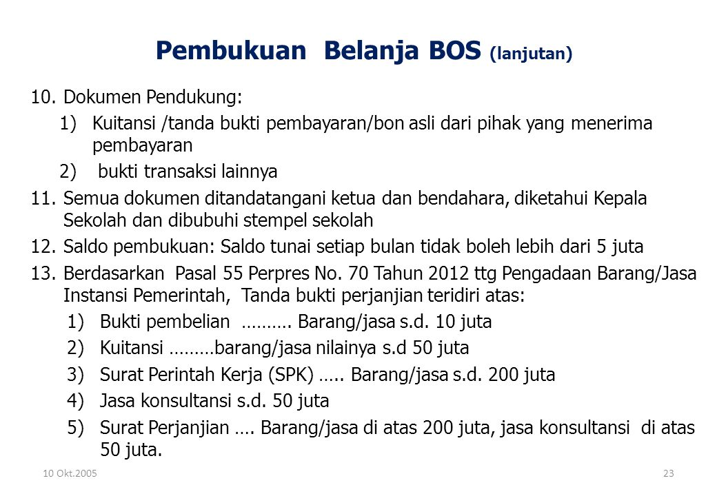 Pembukuan Belanja BOS (lanjutan)