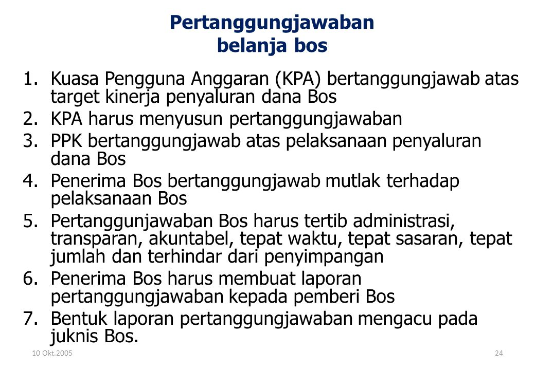 Pertanggungjawaban belanja bos