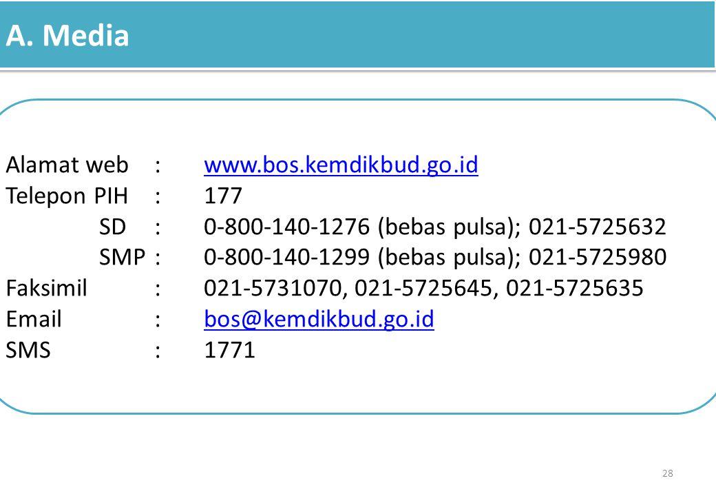 A. Media Alamat web : www.bos.kemdikbud.go.id. Telepon PIH : 177. SD : 0-800-140-1276 (bebas pulsa); 021-5725632.