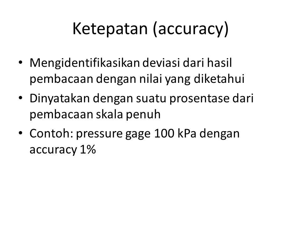 Ketepatan (accuracy) Mengidentifikasikan deviasi dari hasil pembacaan dengan nilai yang diketahui.