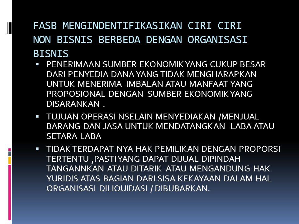 FASB MENGINDENTIFIKASIKAN CIRI CIRI NON BISNIS BERBEDA DENGAN ORGANISASI BISNIS