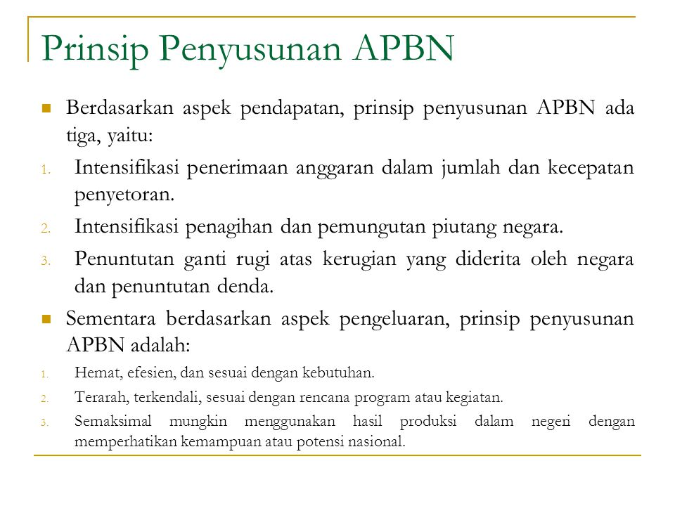Prinsip Penyusunan APBN