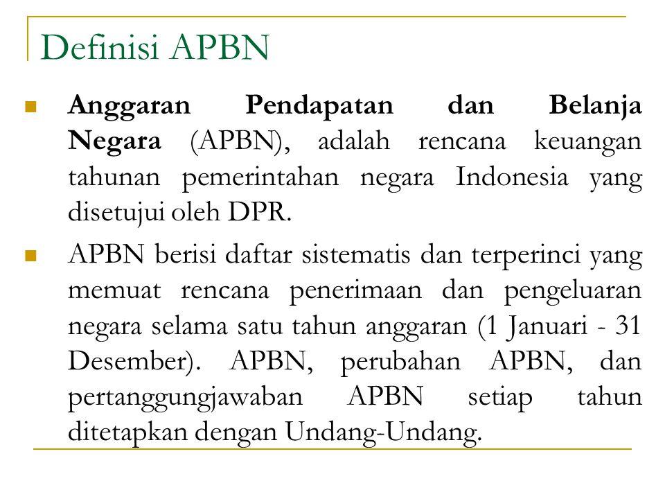 Definisi APBN Anggaran Pendapatan dan Belanja Negara (APBN), adalah rencana keuangan tahunan pemerintahan negara Indonesia yang disetujui oleh DPR.