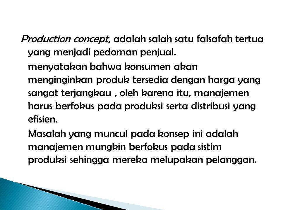 Production concept, adalah salah satu falsafah tertua yang menjadi pedoman penjual.