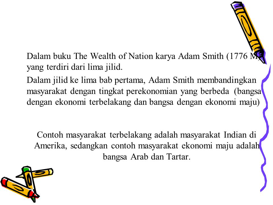 Dalam buku The Wealth of Nation karya Adam Smith (1776 M) yang terdiri dari lima jilid.