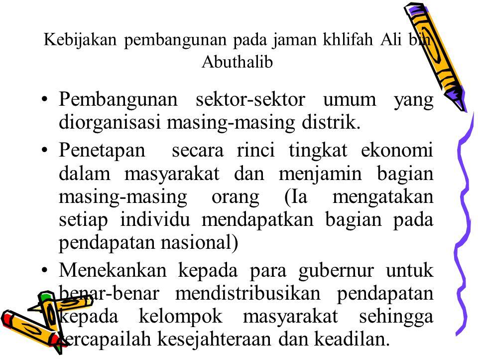 Kebijakan pembangunan pada jaman khlifah Ali bin Abuthalib