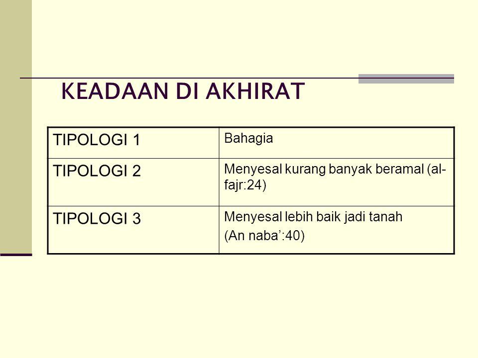 KEADAAN DI AKHIRAT TIPOLOGI 1 TIPOLOGI 2 TIPOLOGI 3 Bahagia