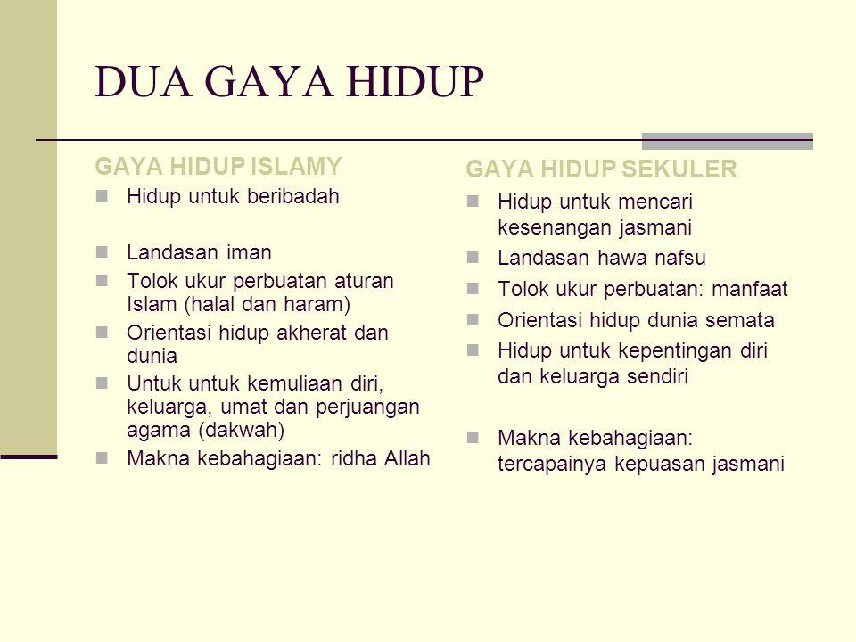 DUA GAYA HIDUP GAYA HIDUP ISLAMY GAYA HIDUP SEKULER