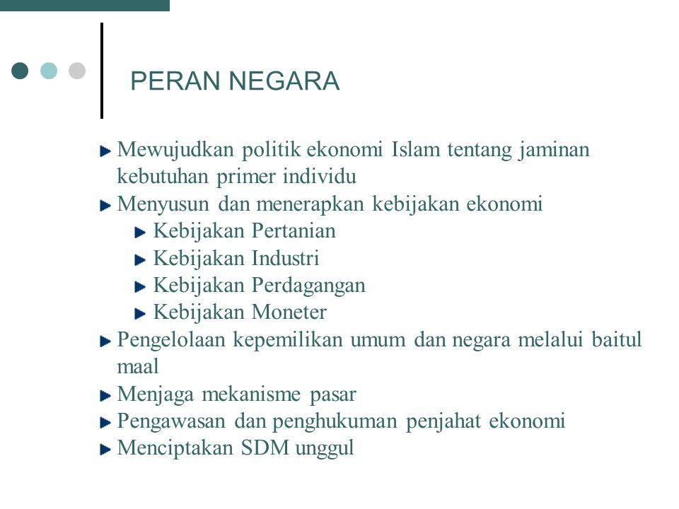 PERAN NEGARA Mewujudkan politik ekonomi Islam tentang jaminan kebutuhan primer individu. Menyusun dan menerapkan kebijakan ekonomi.