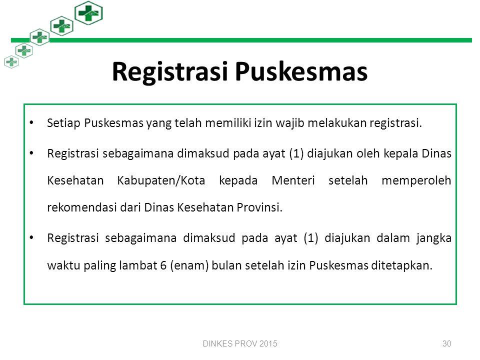 Registrasi Puskesmas Setiap Puskesmas yang telah memiliki izin wajib melakukan registrasi.