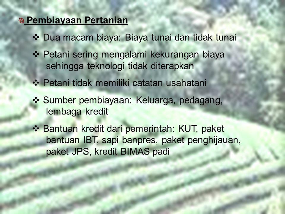 Pembiayaan Pertanian Dua macam biaya: Biaya tunai dan tidak tunai. Petani sering mengalami kekurangan biaya sehingga teknologi tidak diterapkan.