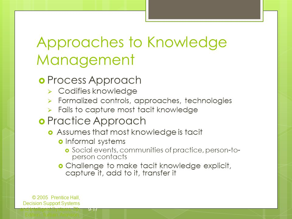approaches to knowledge management practice